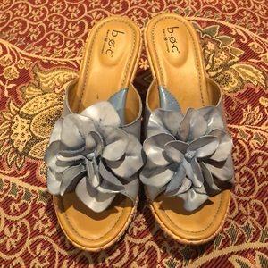b.o.c. Born Soft Blue Flower Cork Wedge Sandals